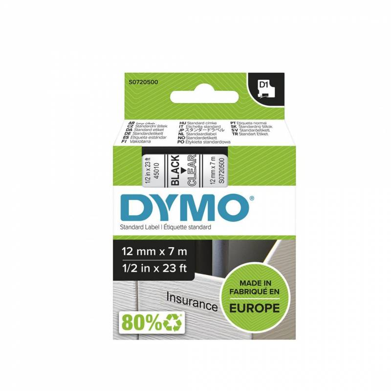 Image of   Labeltape DYMO D1 12mm sort på klar