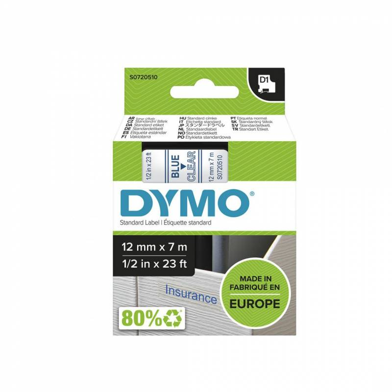 Image of   Labeltape DYMO D1 12mm blå på klar