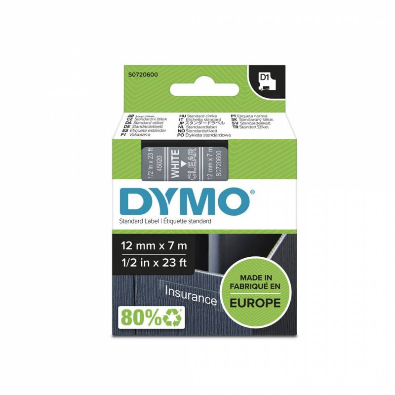 Image of   Labeltape DYMO D1 12mm hvid på klar