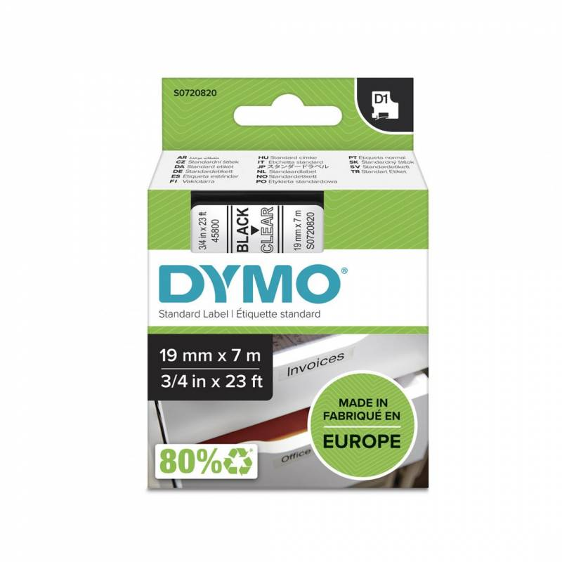 Image of   Labeltape DYMO D1 19mm sort på klar