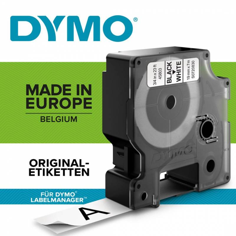 Image of   Labeltape Dymo D1 19mm sort på hvid