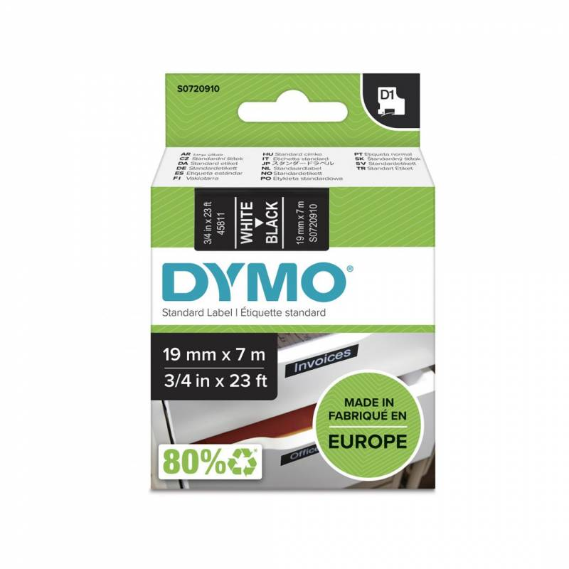 Image of   Labeltape Dymo D1 19mm hvid på sort