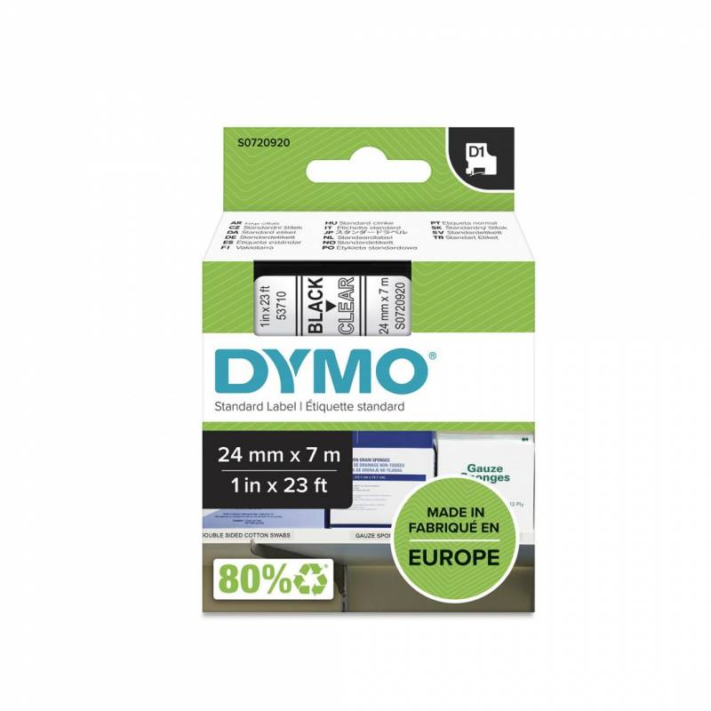 Image of   Labeltape DYMO D1 24mm sort på klar