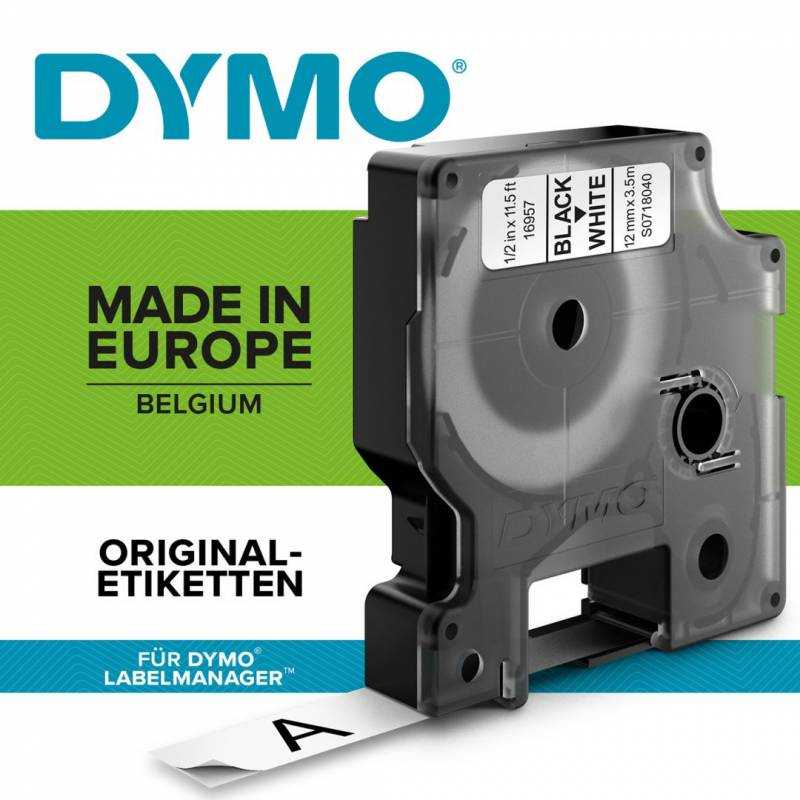 Image of   Labeltape Dymo D1 12mm sort på hvid nylon flex