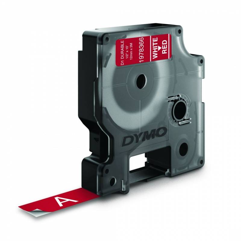 Image of   Labeltape Dymo D1 Durable ekstra stærk 12mmx3m hvid på rød