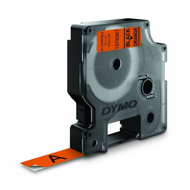 Image of   Labeltape Dymo D1 Durable ekstra stærk 12mmx3m sort på orange