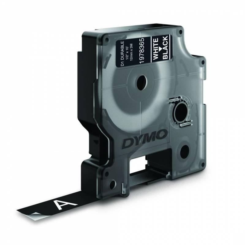 Image of   Labeltape Dymo D1 Durable ekstra stærk 12mmx3m hvid på sort