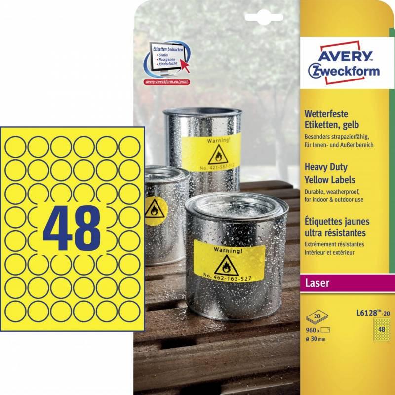 Etiket Avery stærk gule Ø30mm 48stk/ark 20ark/pak