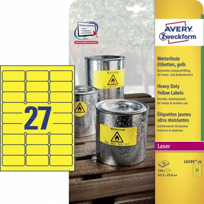 Billede af Etiket Avery L6105 stærk gul 63,5x29,6mm 27stk/ark 20ark/pak