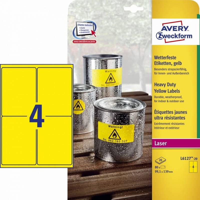 Etiket Avery L6127 stærk gul 99,1x139mm 4stk/ark 20ark/pak