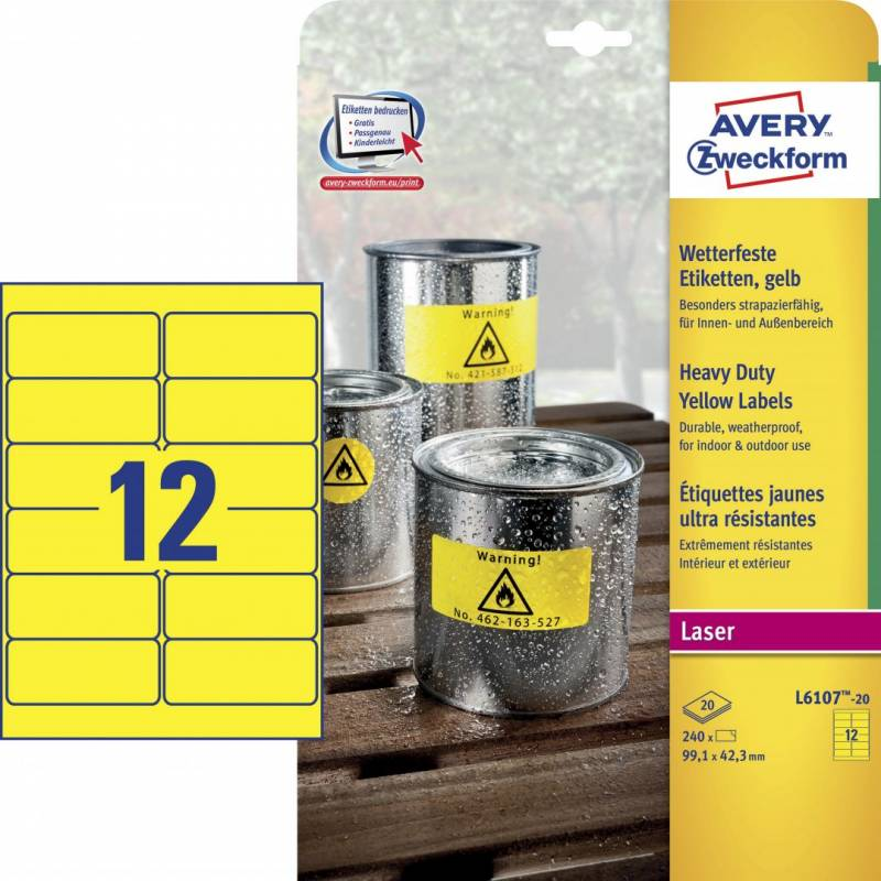 Billede af Etiket Avery stærk gul 99,1x42,3mm 12stk/ark 20ark/pak