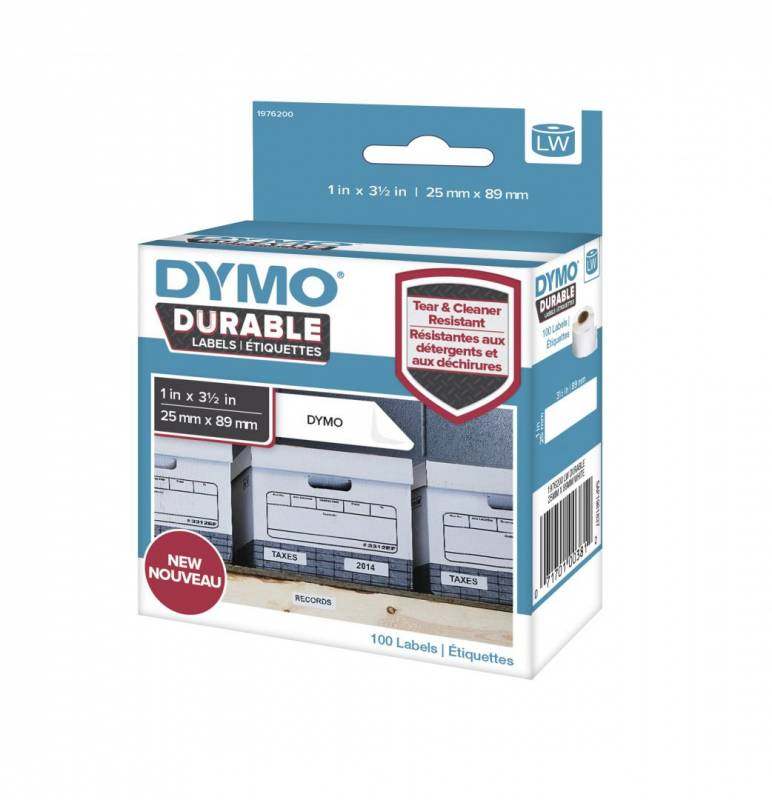 Image of   Etiket Dymo Durable ekstra stærk 25x89mm sort på hvid 100stk/rul