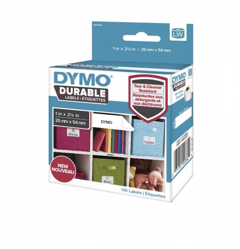 Image of   Etiket Dymo Durable ekstra stærk 25x54mm sort på hvid 160stk/rul