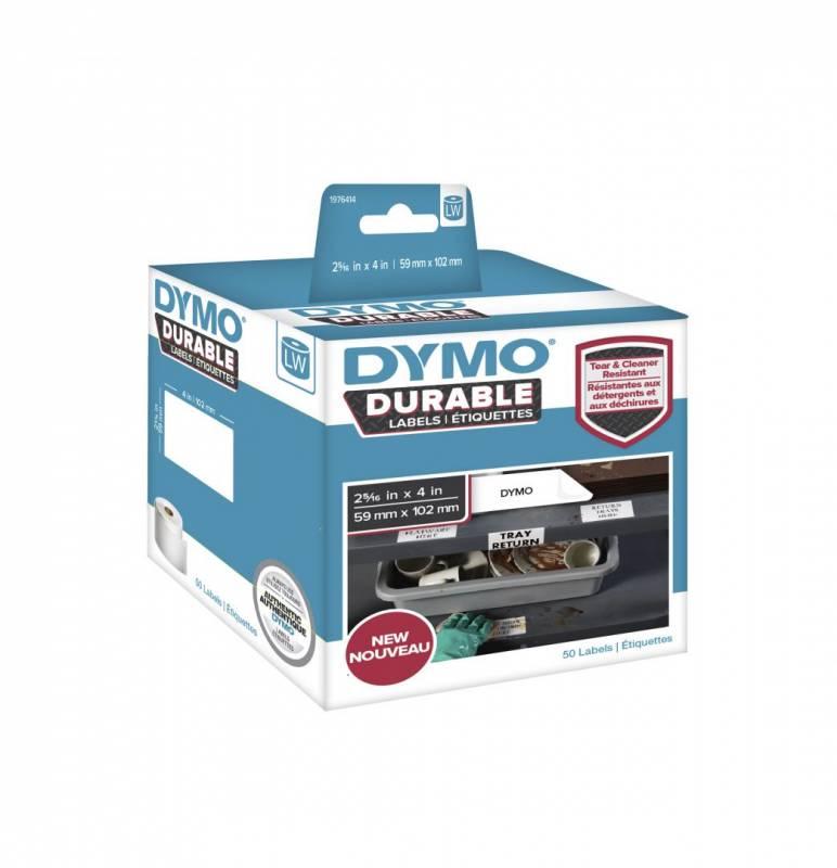 Image of   Etiket Dymo Durable ekstra stærk 59x102mm sort på hvid 50stk/rul
