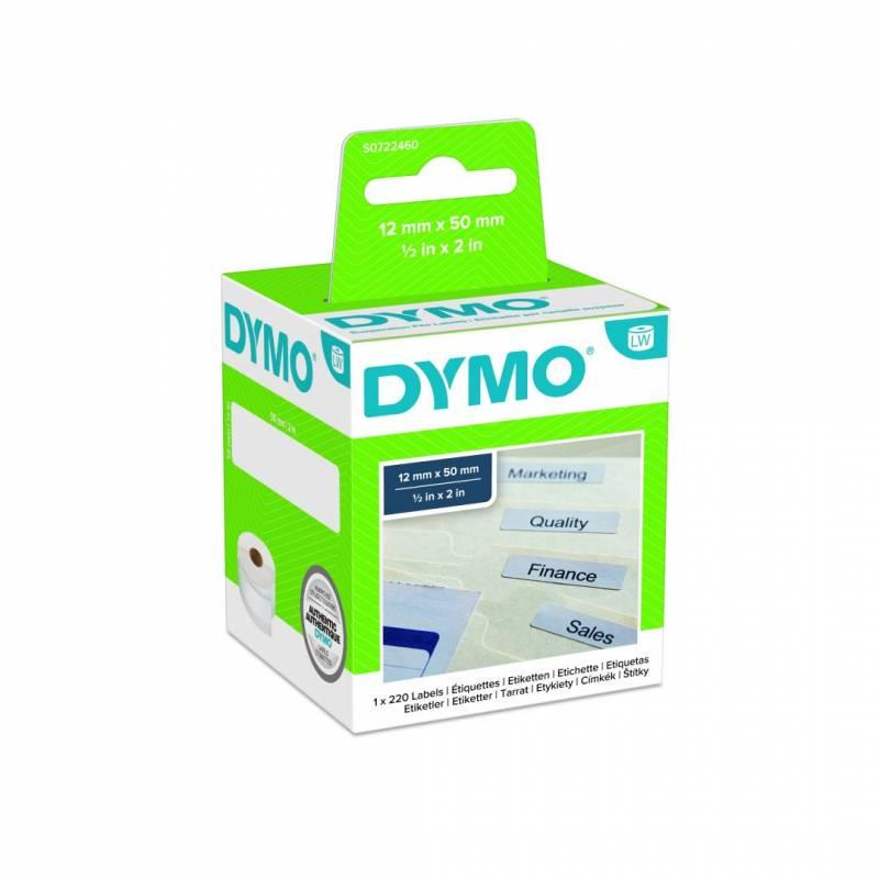 Image of   Hængemappetiketter DYMO hvid 12x50mm 220stk/rul 99017