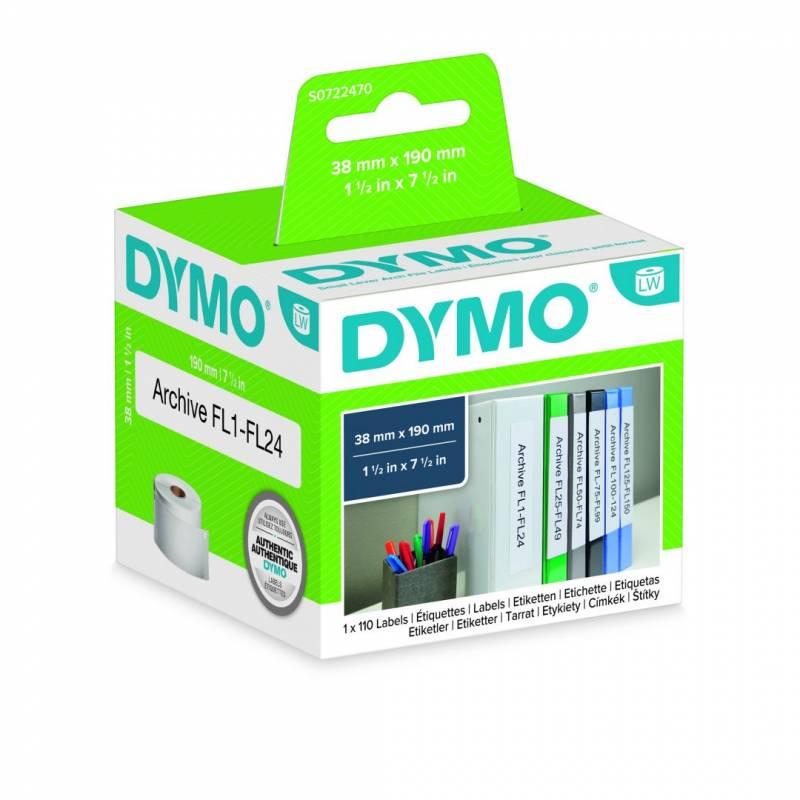 Image of   Etiketter store DYMO hvid 38x190mm 110stk/rul 99018