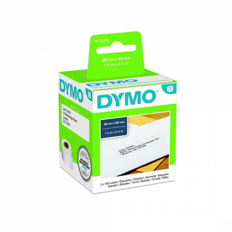 Image of   Adresseetiketter DYMO 28x89mm 2x130stk/rul
