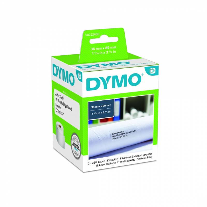 Image of   Adresseetiketter DYMO 36x89mm 2x260stk/rul 99012