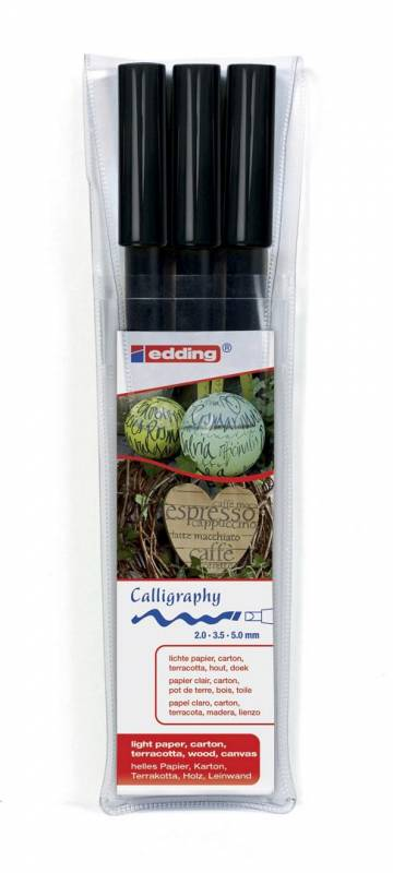 Image of   Fiberpen kalligrafi Edding 1255 sort assorteret 3-pack