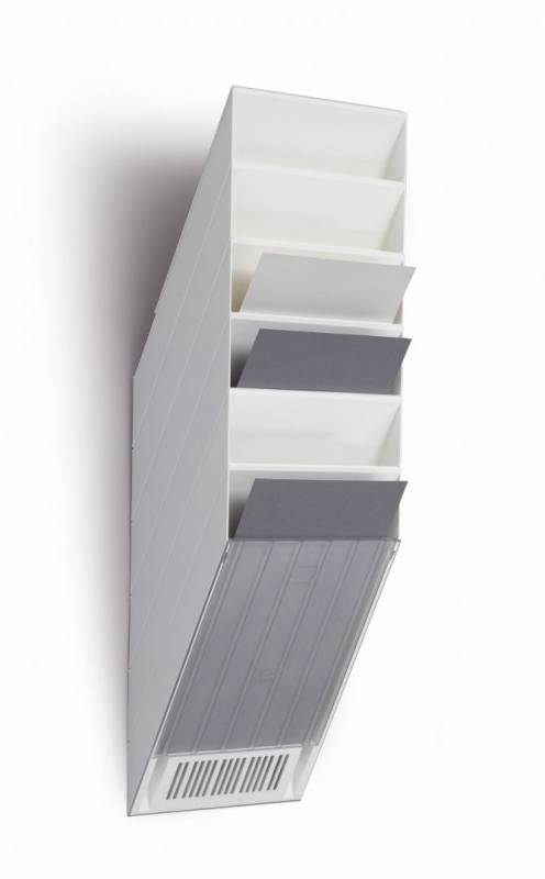 Brochureholder Flexiboxx A4 hvid 6 fag stående t/væg