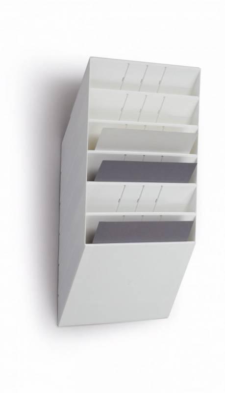 Brochureholder Flexiboxx A4 hvid 6 fag liggende t/væg