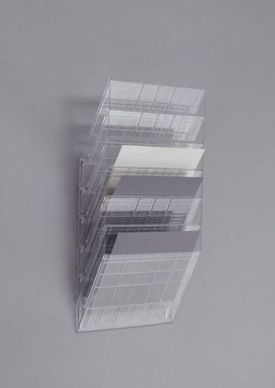 Brochureholder Flexiboxx A4 klar 6 fag liggende t/væg
