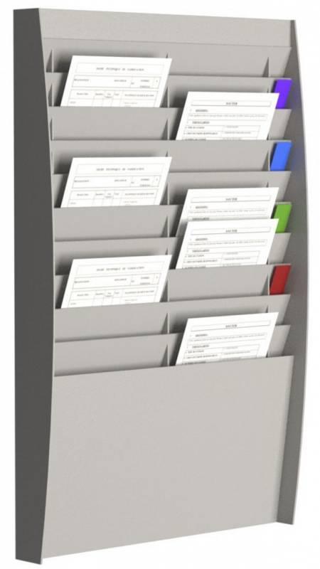 Brochureholder væg Paperflow A4 grå 20 lommer
