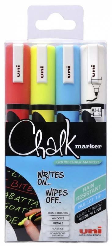 Image of   Whiteboard- og Chalkmarker Uni Chalk PWE-5M 4stk 1,8-2,5mm