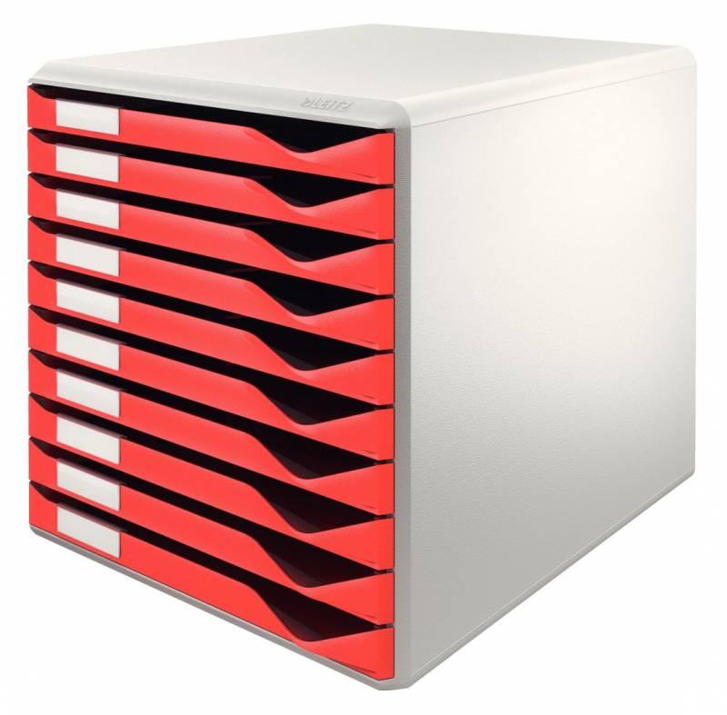 Skuffekabinetter Leitz rød m/10-skuffer 29,1x29,1x35,2cm