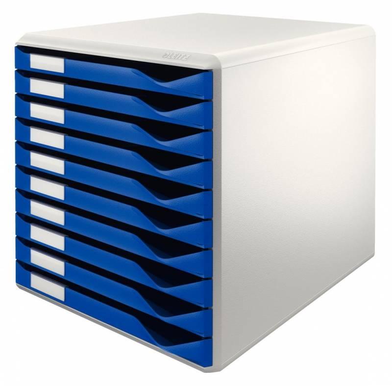 Skuffekabinetter Leitz blå m/10-skuffer 29,1x29,1x35,2cm