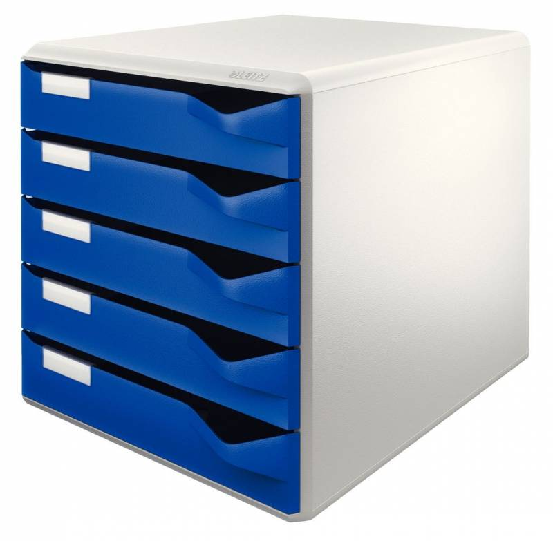 Skuffekabinetter Leitz blå m/5-skuffer 29,1x29,1x35,2cm