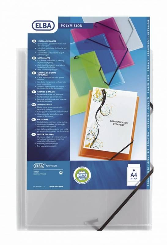 Image of   Plastmappe A4 transparent m/3 klap & elastik. 342408