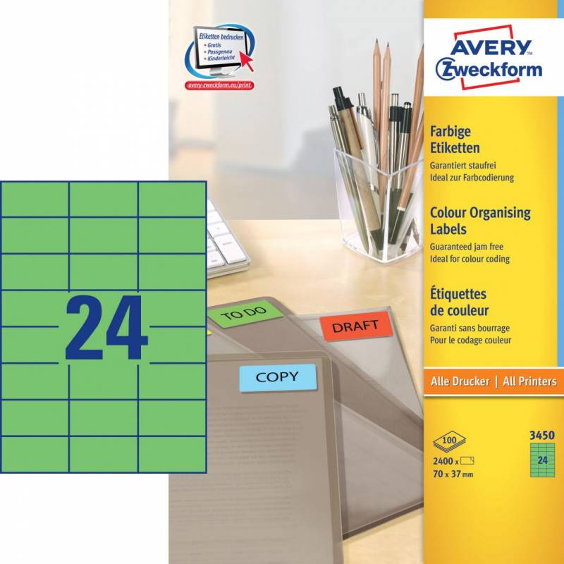 Image of   Etiket 70x37mm grøn Avery 3450 24stk/ark 100ark/pak