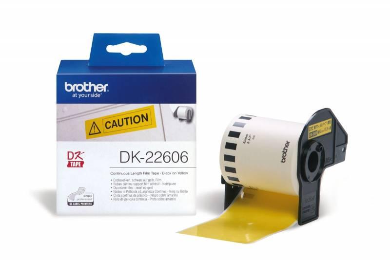 Billede af Labeltape Brother DK22606 62mm sort på gul filmtape