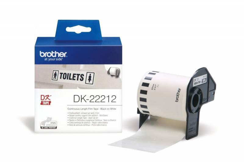 Billede af Labeltape Brother DK22212 62mm sort på hvid filmtape