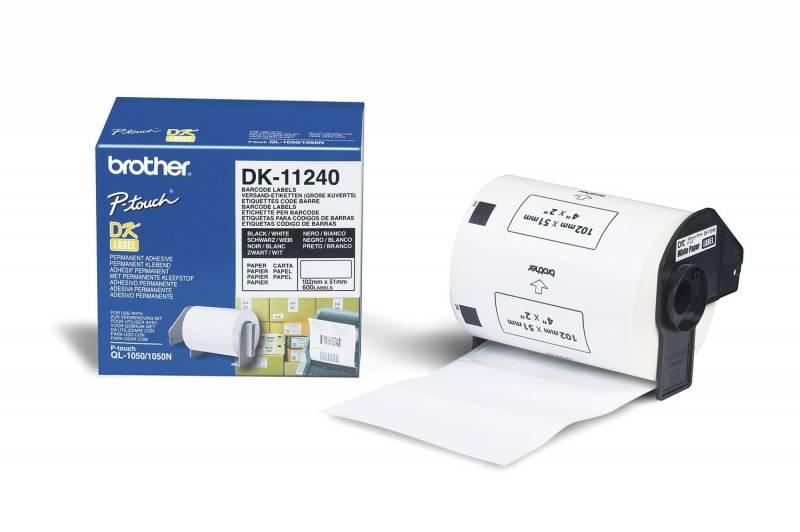 Billede af Label Brother hvid DK11240 102x50mm QL1050/1060 600stk/rl