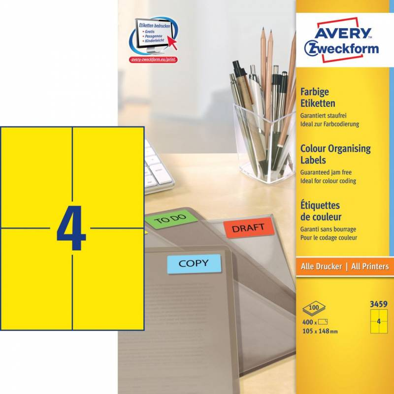 Image of   Etiket Avery gul 105x148mm 400stk/pk 3459