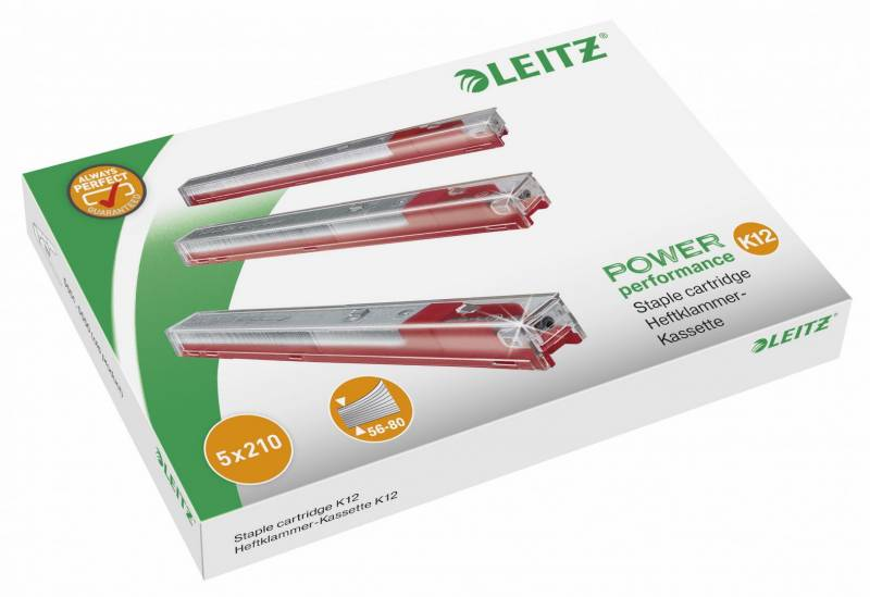 Image of   Hæfteklammekassetter Leitz 12mm rød 5x210stk/pak