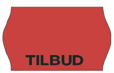Image of   Etiket Meto 32x19mm fluor. rød permanent lim 2 TILBUD