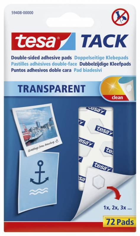 Image of   Brikker tesa Tack standard dobbeltklæbende transp. 72stk/pak