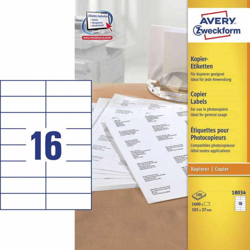 Image of   Avery 18034 Kopietiket 37x105mm 16/ark 100ark/pak