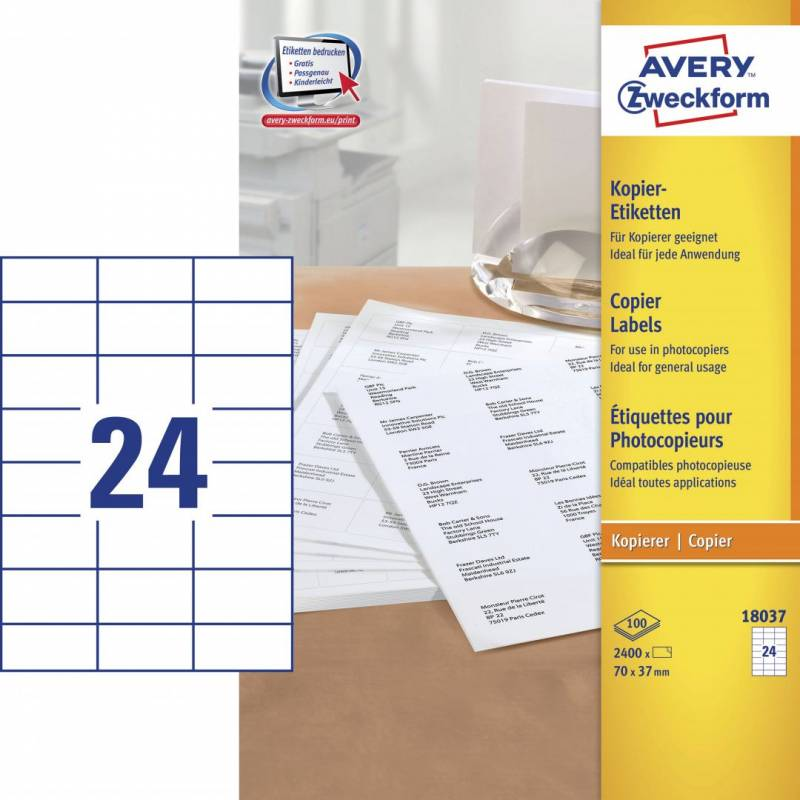 Image of   Avery 18037 Kopietiket 37x70mm 24/ark 100ark/pak