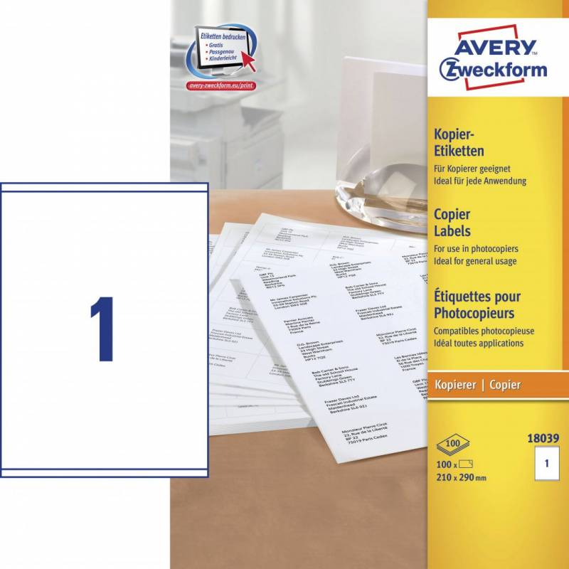 Image of   Avery 18039 Kopietiket 210x290mm 1/ark 100ark/pak