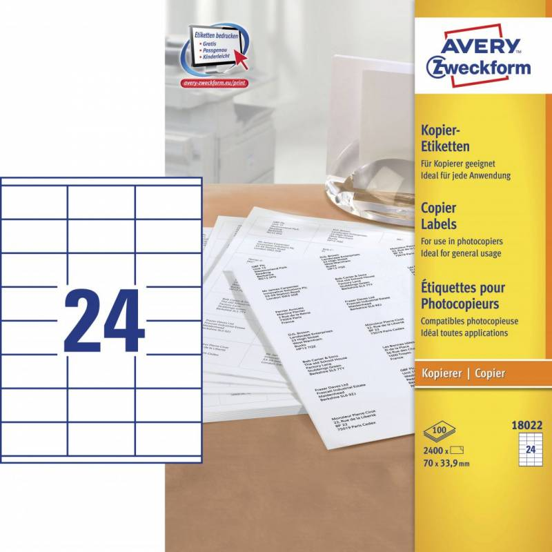 Image of   Avery 18022 Kopietiket 33,9x70mm 24/ark 100ark/pak