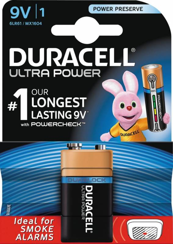 Image of   Batteri Duracell Ultra Power 9V 1stk/pak