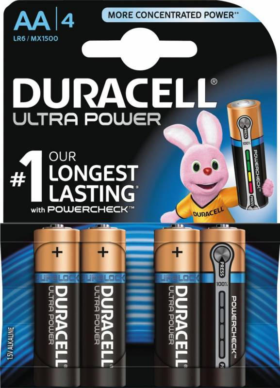 Image of   Batteri Duracell Ultra Power AA 4stk/pak