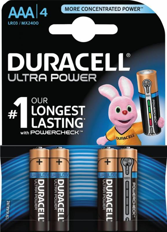 Image of   Batteri Duracell Ultra Power AAA 4stk/pak