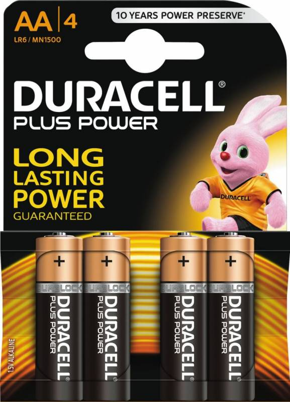 Image of   Batteri Duracell Plus Power AA 4stk/pak