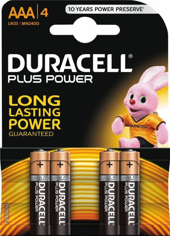 Image of   Batteri Duracell Plus Power AAA 4stk/pak
