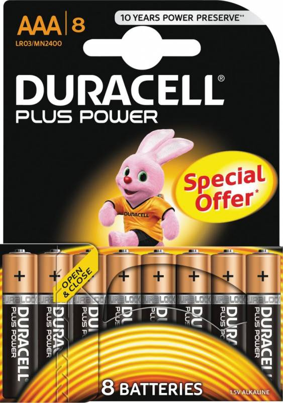 Image of   Batteri Duracell Plus Power AAA 8stk/pak
